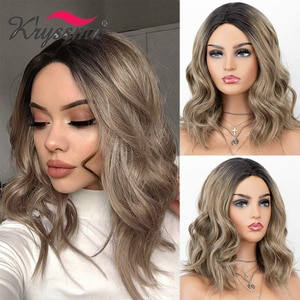 Kryssma Short Bob Wigs Ombre Brown Wigs For Women Synthetic Wigs Short Wavy Cosplay Wig Mixed Black With Middle Part
