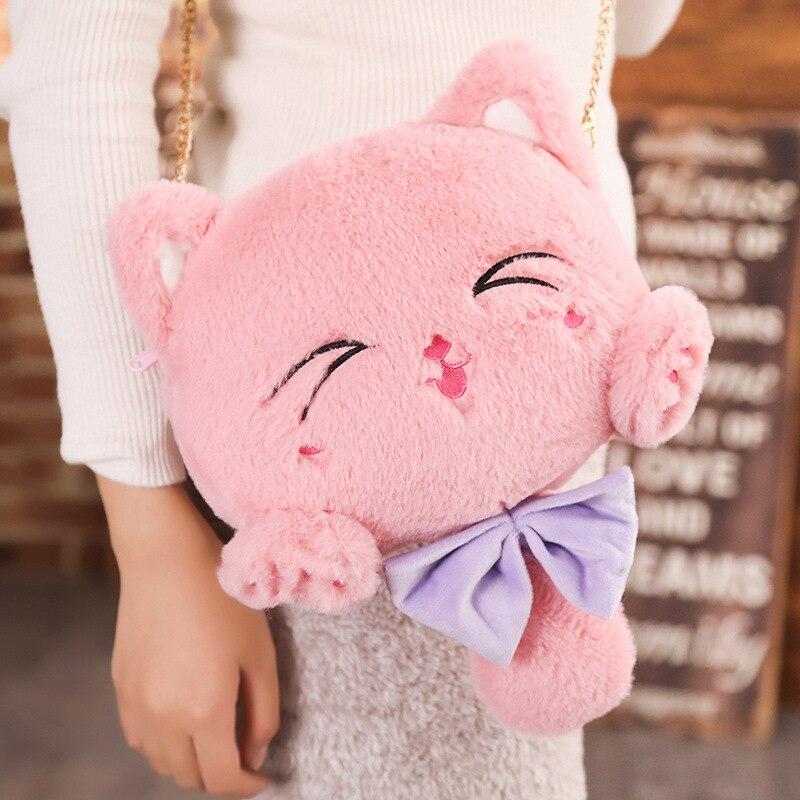 Милая плюшевая сумка через плечо с котом для девочек, сумка-мессенджер с сердцем, плюшевая игрушка, захватывающая машина, тряпичная кукла, а...