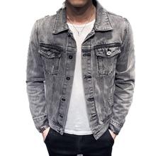 2020 Denim Jacket Men Hole Retro Motorcyle Basic Coat Streetwear Hip Hop Bomber Jacket Cowboy Men's