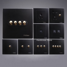 Hohe Qualität Typ 86 Retro Schwarz Wand Lampe Schalter WERDEN Messing Hebel Einzigen Dual Control 1-4 Gang 2 weg Kippschalter