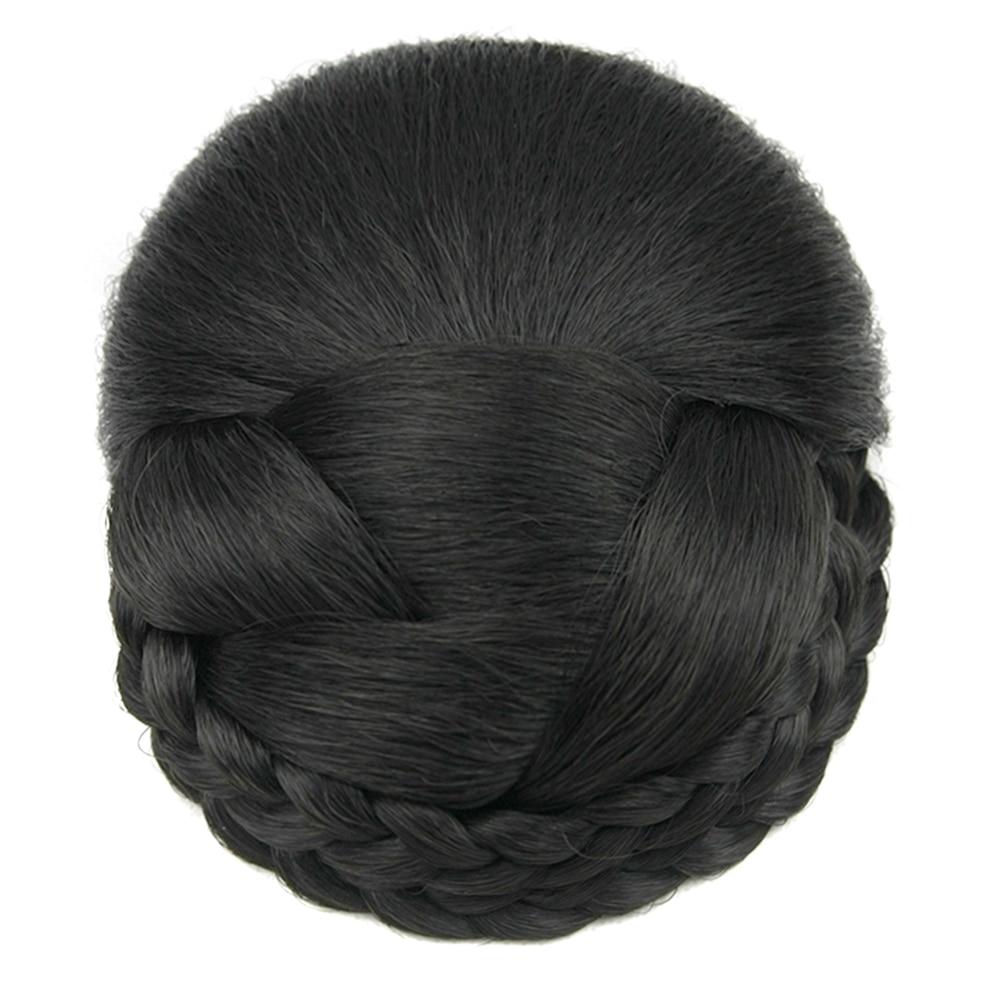 Soowee 6 colores de punto de pelo trenzado Chignon de alta temperatura de fibra de pelo sintético Donut moño de pelo falso