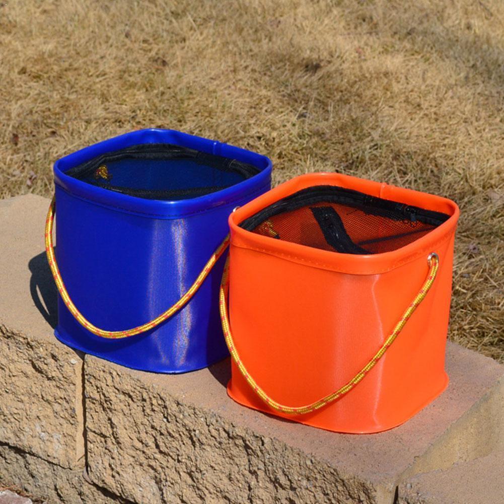 1 pçs dobrável eva balde de água com corda cinto pesca ao ar livre equipamento acampamento saco de pesca caso caixa dobra w9j5