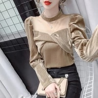 fashion mesh velvet top 2021 new spring french style high end puff sleeve off shoulder womens openwork blouse