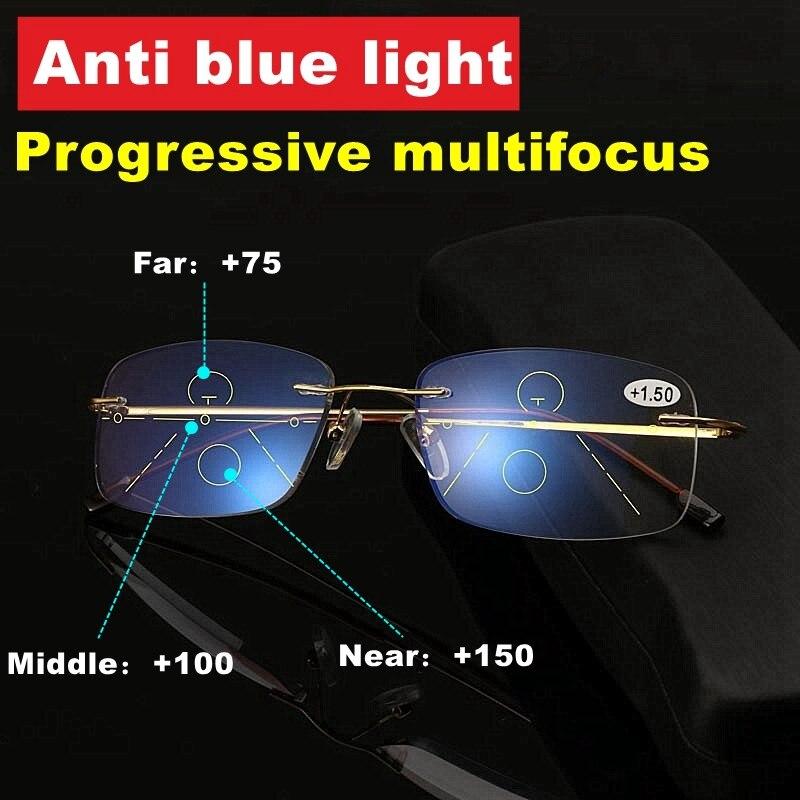 Evunhuo liga de titânio anti-blu-ray óculos de leitura progressivos sem aro presbiopia óculos multifocais diopter 1-3