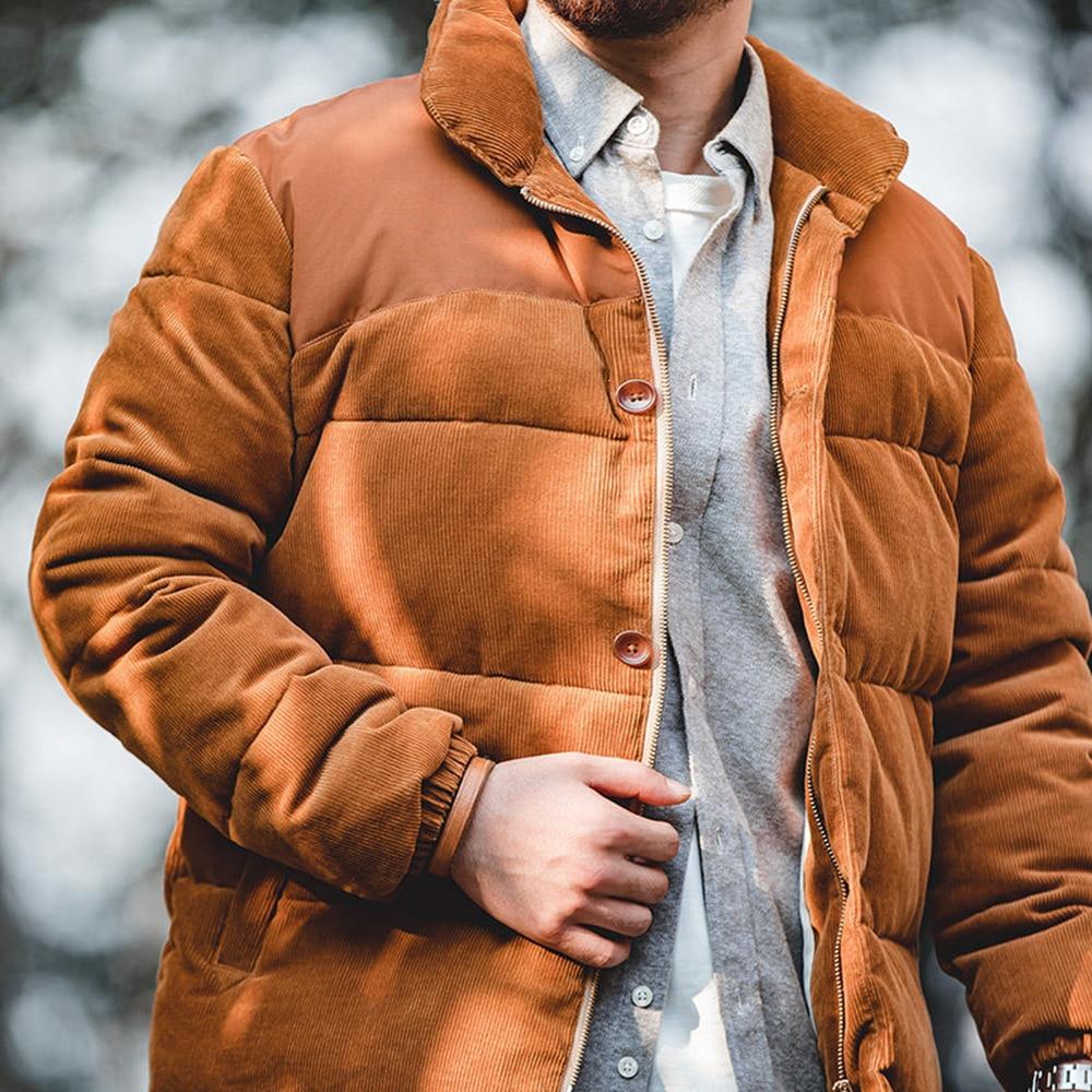 Мужская Вельветовая куртка в стиле ретро с воротником-стойкой, Мужская плотная теплая куртка, Мужская куртка с хлопковой подкладкой, парка, ...
