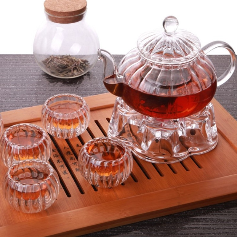 600ml Punpkin Pattern Heat-resistant Glass Teapot With Strainer Filter Teapot Can be Heated Water Tea Pot Drinkware