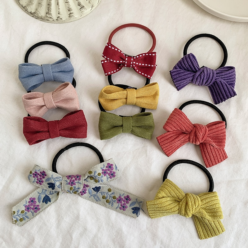 Korean Minimalist Bowknot Hair Rope Ins Girl Candy Color All-Match Hair Band Hair Rope Ponytail Rubb
