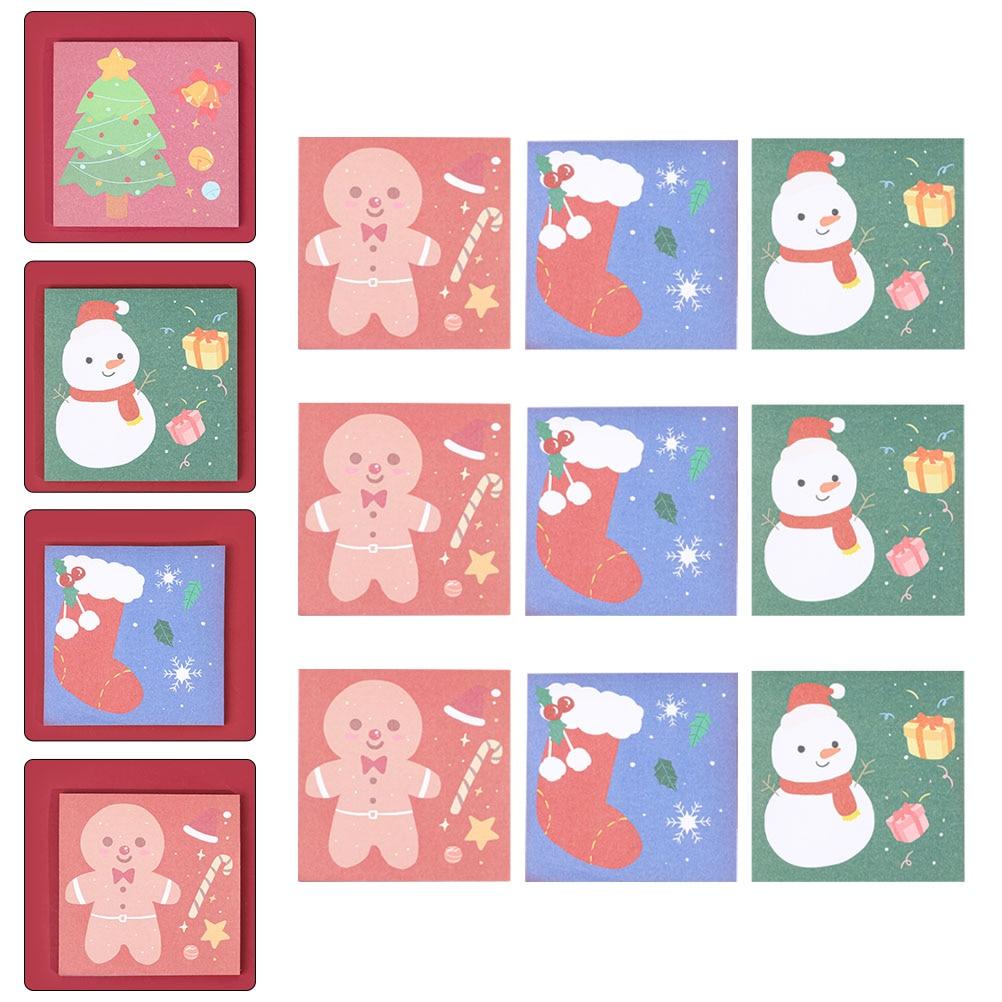 Липкие блокноты для записей, рождественские блокноты для записей, портативные Стикеры, блокноты для записей (разные цвета)