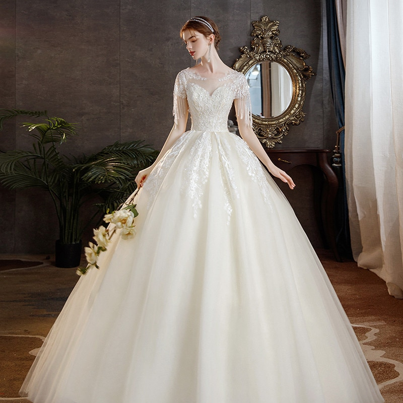 Get Neat Round Neck Light Main Wedding Dress New Bride's One Shoulder Champagne Color, Neat And Slim Vintage