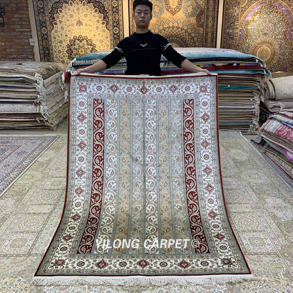 Yilong-4.5 × 6.5 بوصة ، سجادة مصنوعة يدويًا ، غرفة رسم ، حرير معقود يدويًا (HF317B)