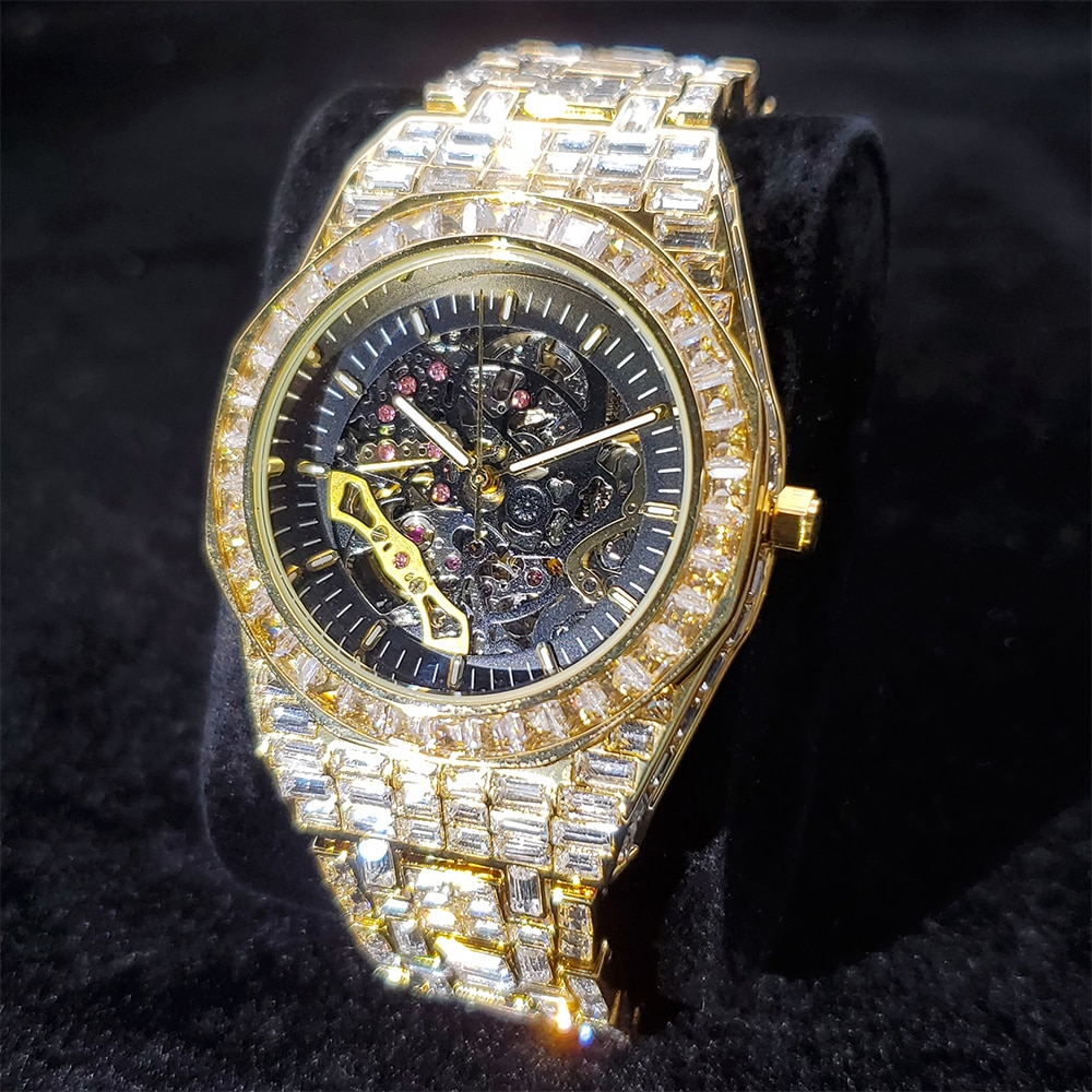 Hip Hop Iced Out Automatic Mechanic Mens Watches Luxury Brand 18K Gold Full Diamond Stainless Steel AP Male Watch Dropshipping