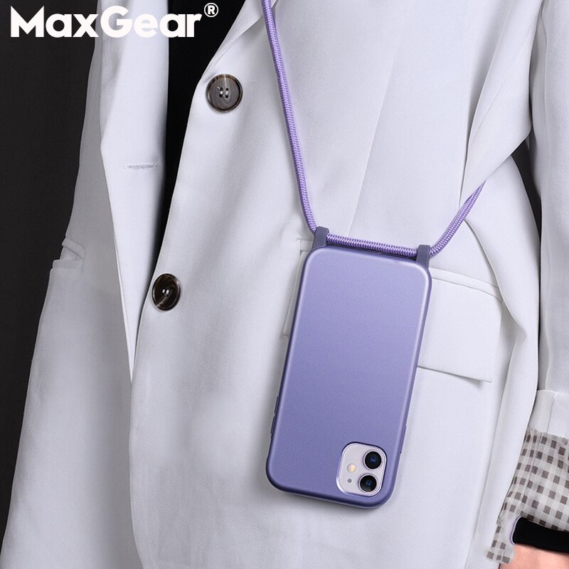 Funda de caramelo con cuerda de cordón para iPhone 11 Pro XS Max X XR 8 7 6 6S Plus, collar con correa para colgar, funda dura para teléfono