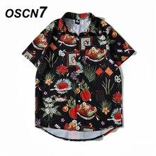 OSCN7 décontracté nuage imprimé manches courtes chemise hommes rue 2020 Hawaii plage surdimensionné femmes mode Harujuku chemises pour hommes 2055