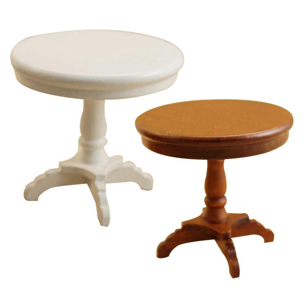 1/12 casa de muñecas en miniatura, mobiliario de mesa redonda DIY, accesorio para dormitorio delicado, mesa redonda de madera, juguetes para casa de muñecas