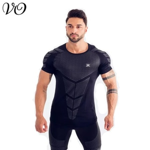 Fitness clothes Trainer Sports T-shirt muscle tights men's high elastic training clothes short sleeve fitness clothes men's