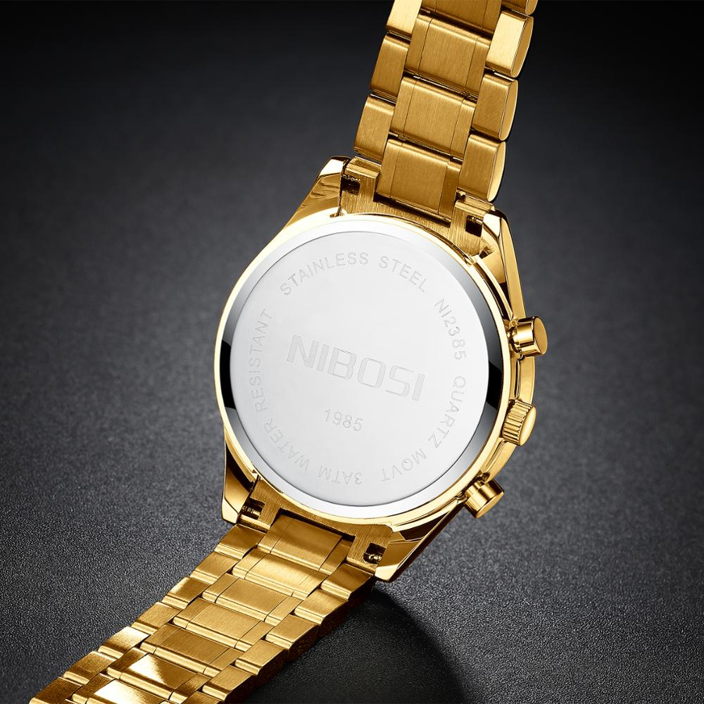 NIBOSI Fashion Mens Watches with Black Gold Top Brand Luxury Sports Quartz Watch Men Relogio Masculino