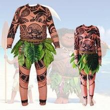 Moana Maui tatouage t-shirt/pantalon Halloween adulte hommes femmes Cosplay Costumes avec feuilles décor flagrant Halloween adulte Cosplay