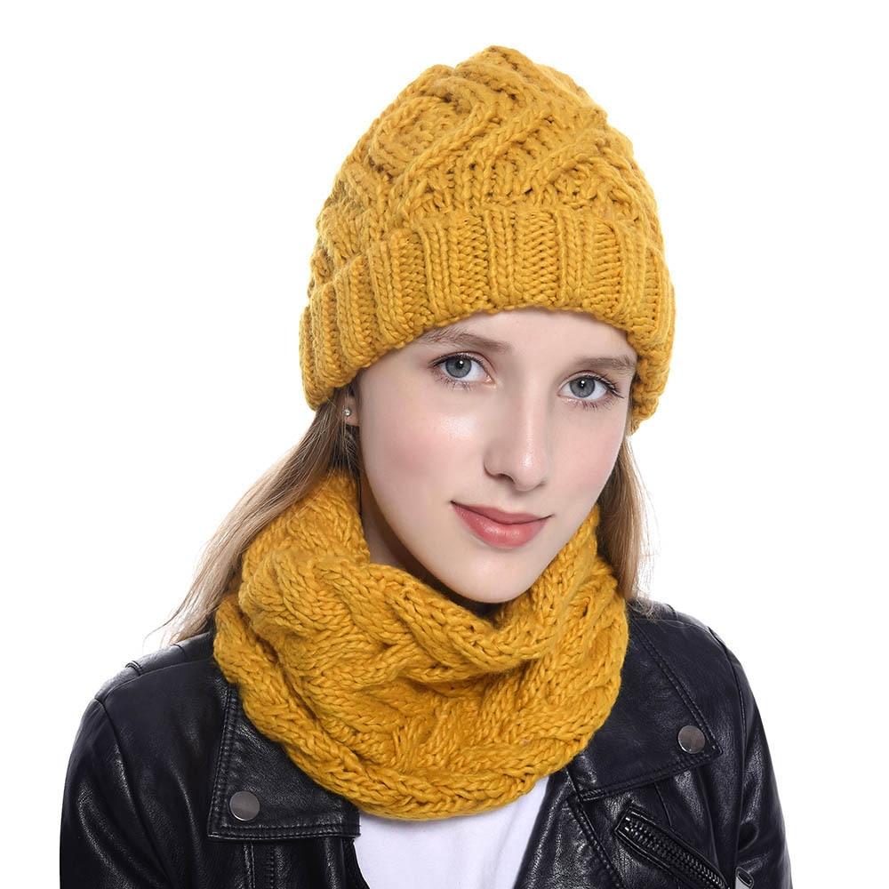 Pasamontañas de punto de las mujeres sombrero gorros con bufanda cuello cálido invierno sombreros para hombres y mujeres, gorros, gorros de lana caliente de lana
