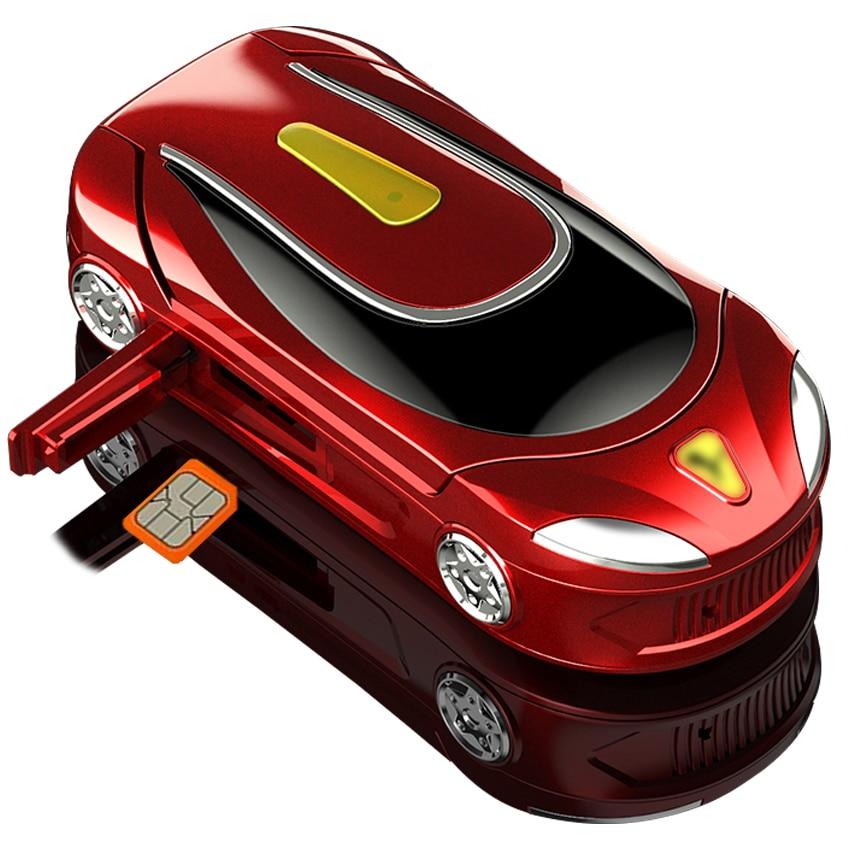 Car appearance GSM Unlock Mini Flip phone Bluetooth dialer cell phone Magic Voice Single sim mobile phones for children students