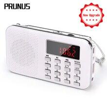 PRUNUS Tragbare fm radio Wiederaufladbare radio empfänger TF Karte/AUX/U-Disk musik spielen mini radios mit LED licht 1200mAh Batterie
