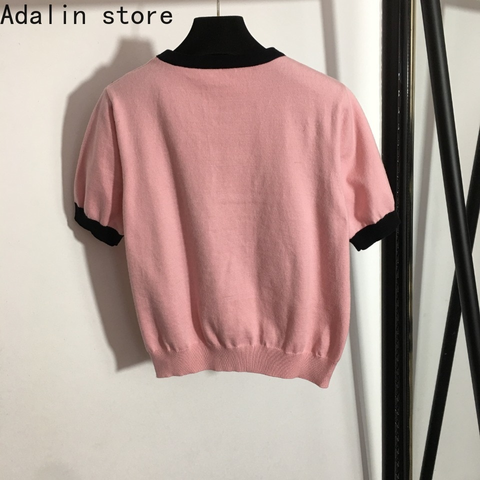 high quality autumn and winter new women's round neck short sleeve sweater + letter jacquard round neck long sleeve cardigan enlarge