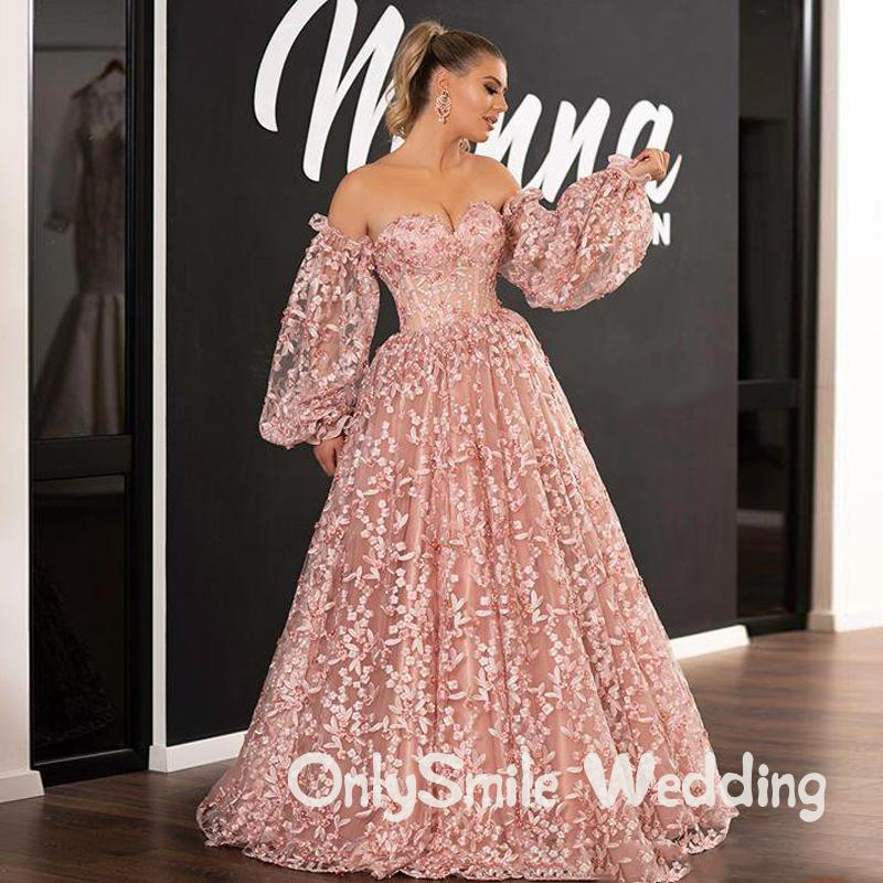 Pink 2020 New Prom Dresses Lace Appliqued Dubai Arabic Off Shoulder Beads Long Sleeve Evening Gowns