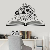 brain science open book gears physics school education wall stickers vinyl home decor for teens reading room bedroom decals s138