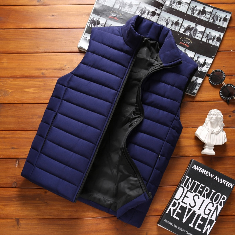 Мужская куртка, безрукавка, зимний модный мужской жилет с хлопковой подкладкой, мужские пальто с воротником-стойкой, утепленные безрукавки,...