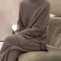 fashion women soft homewear 2 piece set elegant o neck pullover tops and knitted pants solid autumn winter lady pajama home suit