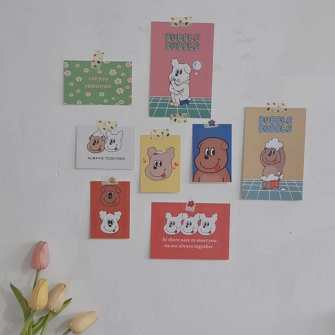 Декоративная открытка с милым щенком из мультфильма Ins, 8 листов, открытка, стол, спальня, креативный фон, настенная наклейка, фото, реквизит, ...