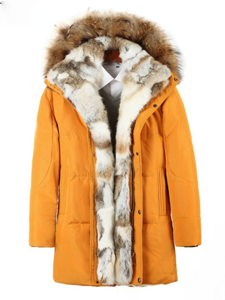 Young Men and Women Mid-length Couples Polyester Fiber Hooded Collar Straight Down Jacket S-5XL Winter Coat  Clothes
