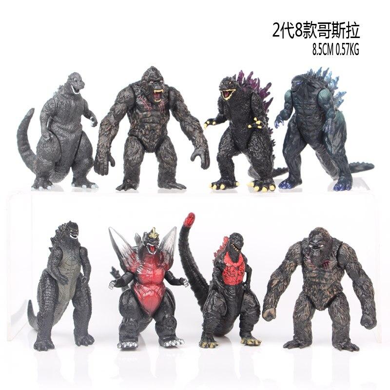 8pcs/set BANDAI 8cm New Godzilla Red Lotus Godzilla Kong Kim Battle Dinosaurs PVC Kids Gift Action Figure Collection Model Toy