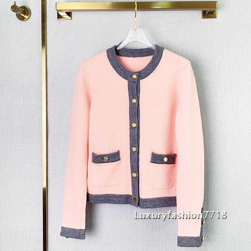 Autumn high end 2021 cardigans women Single breasted long sleeve brand Blended wool knitted cropped cardigan woman sweater S-L enlarge