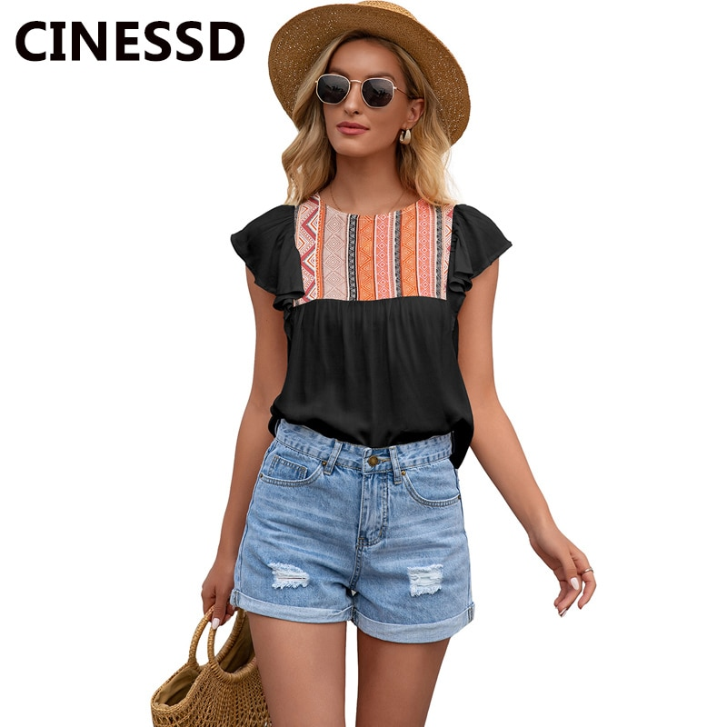 CINESSD Print Ethnic Blouses Women Tops Round Neck Ruffles Short Sleeves Geometry Summer Office Lady Casual Loose Blouse 5 Color