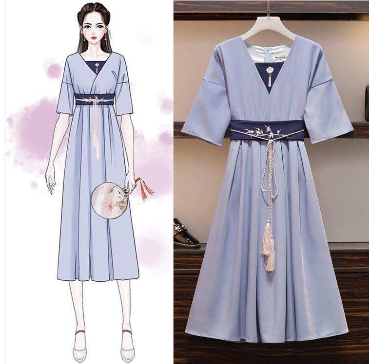 Женское длинное платье с цветочной вышивкой размера плюс, Элегантное синее платье с коротким рукавом и бахромой в китайском стиле с кисточк...
