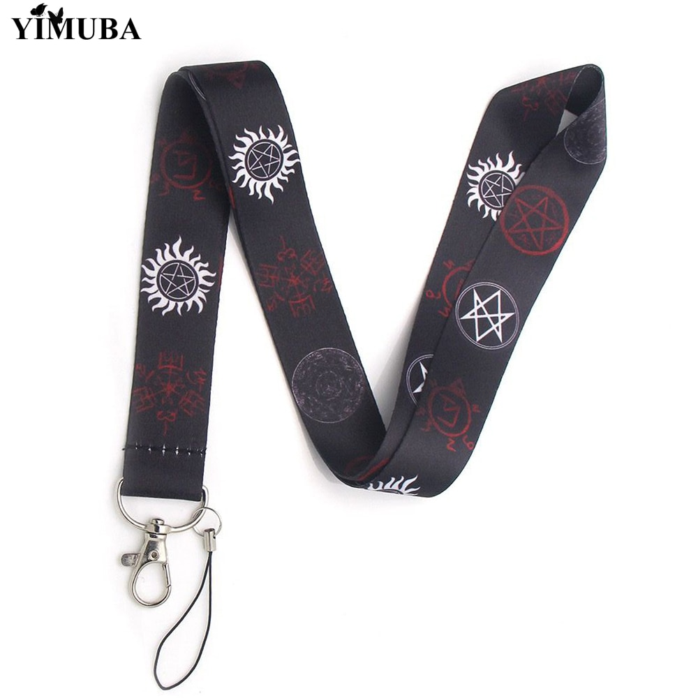 YIMUBA Pentáculo sobrenatural, cordones hebreo, llavero de cámara, llaves USB, funda para tarjeta de identificación, correas de cuello de teléfono móvil, cuerda colgante