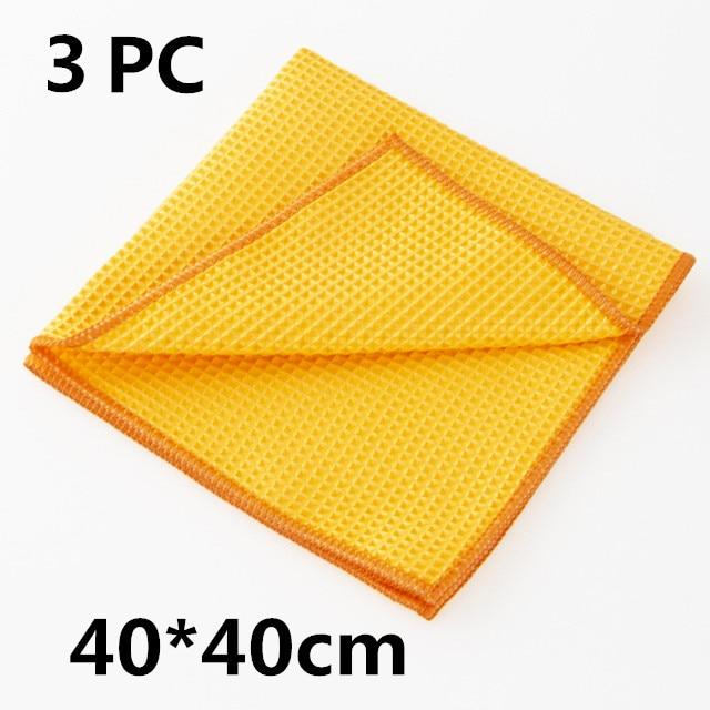 1pc/3pcs Soft Car Window Microfiber Wax Polishing Detailing Towel Cleaning Wash Traceless Cloth Kitchen Cleaner 40x40cm