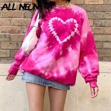 ALLNeon Y2K Ästhetik Rosa Übergroßen Sweatshirts E-mädchen Vintage Tie Dye Crewneck Langarm Tops Herbst Herz Pullover Chic