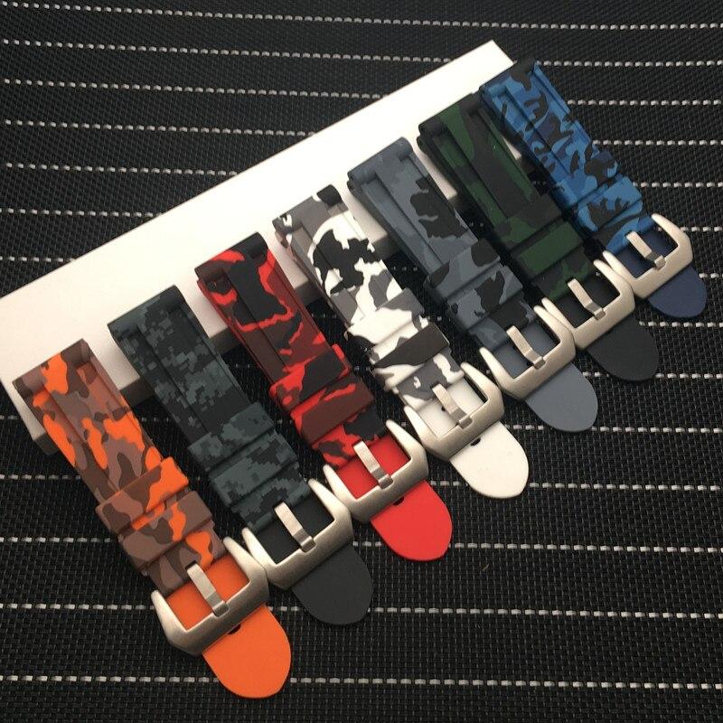 Correa de reloj de goma colorida de camuflaje Universal de 24mm de alta calidad para hombre, correa de reloj para Samsung Gear S3 Classic Panerai