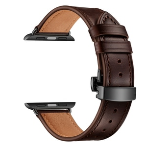 Genuine Leather Strap For Apple Watch Series SE 6 5 4 Smart Watch Replace Wrist Band Classic Vintage Butterfly Buckle Watchband