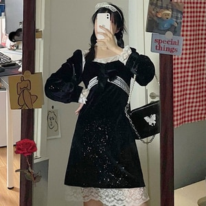 Waist-Controlled Slimming Gold Velvet  Black Dress Women's Autumn and Winter 2020 New Korean Style Scheming swwet lolita Dress