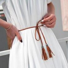 Cinturones de borla trenzada de diseñador de cuero largo tejidos a mano para mujer, cinturones de cuerda de cintura fina para vestido, fajas de cuerda de PU de 130cm