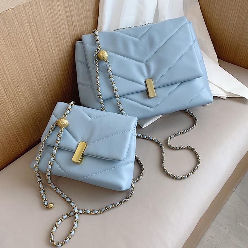 Designer Leather Chain Solid Color Crossbody Shoulder Bags for Women 2021 Summer Trend Branded Trend