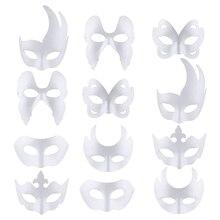 Masque blanc 12 pièces Halloween demi masque visage bricolage masque blanc danse Cosplay fête mascarade papier masque décoration