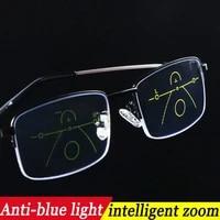progressive multifocus reading glasses blue light blocking titanium anti fatigue full frame multifocal readers eyeglasses 1 0to4