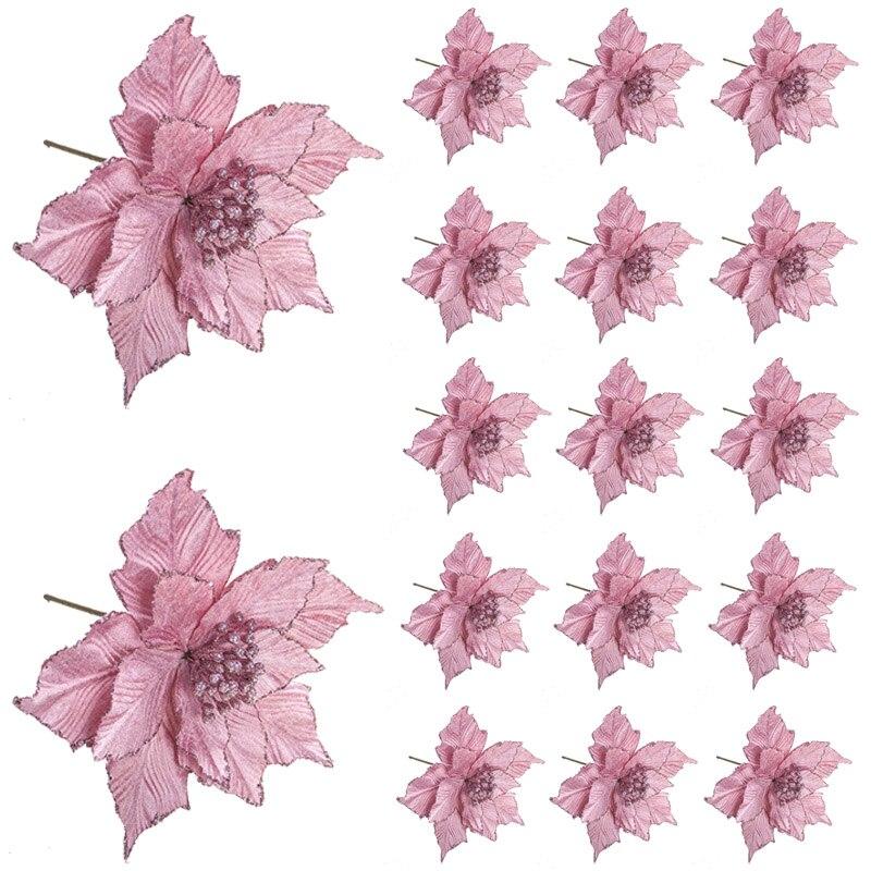 24*28 см блестящие искусственные цветы для украшения рождественской елки Новогодние украшения для дома Искусственные цветы новогодние украш...