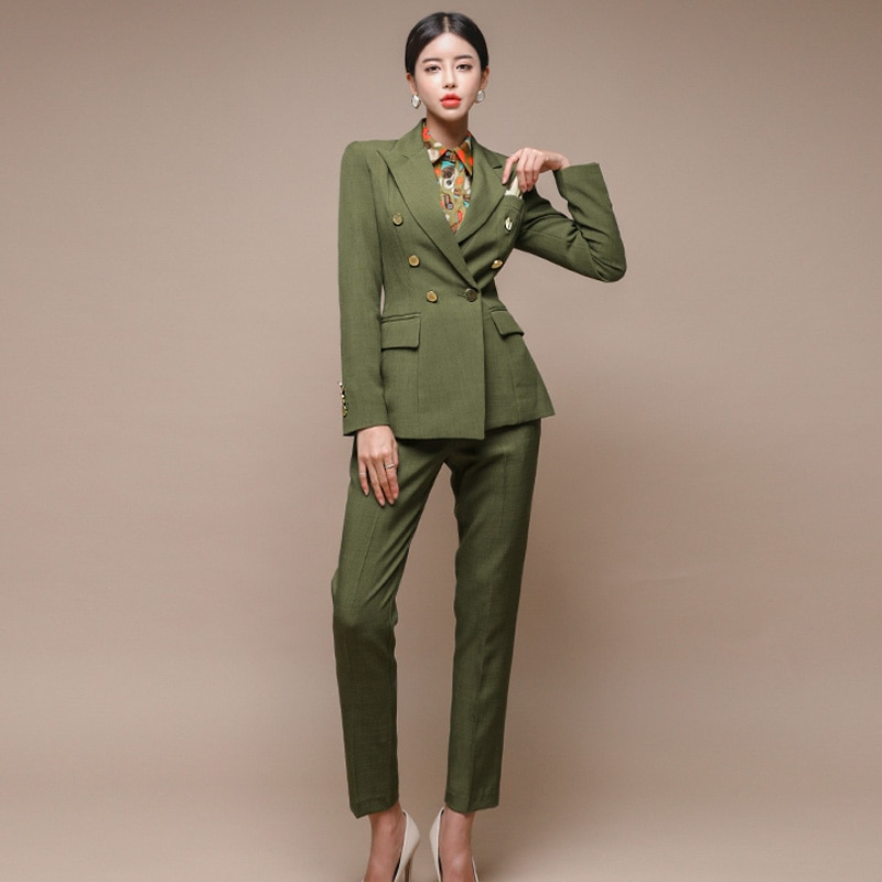 New Runway Fashion 2 Piece Set Women Business Work Wearing Pant Suits Office Lady