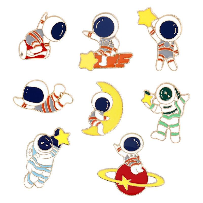 MSFGJZM broche de solapa pines Luna estrella ropa encantadora pin astronauta Mochila...