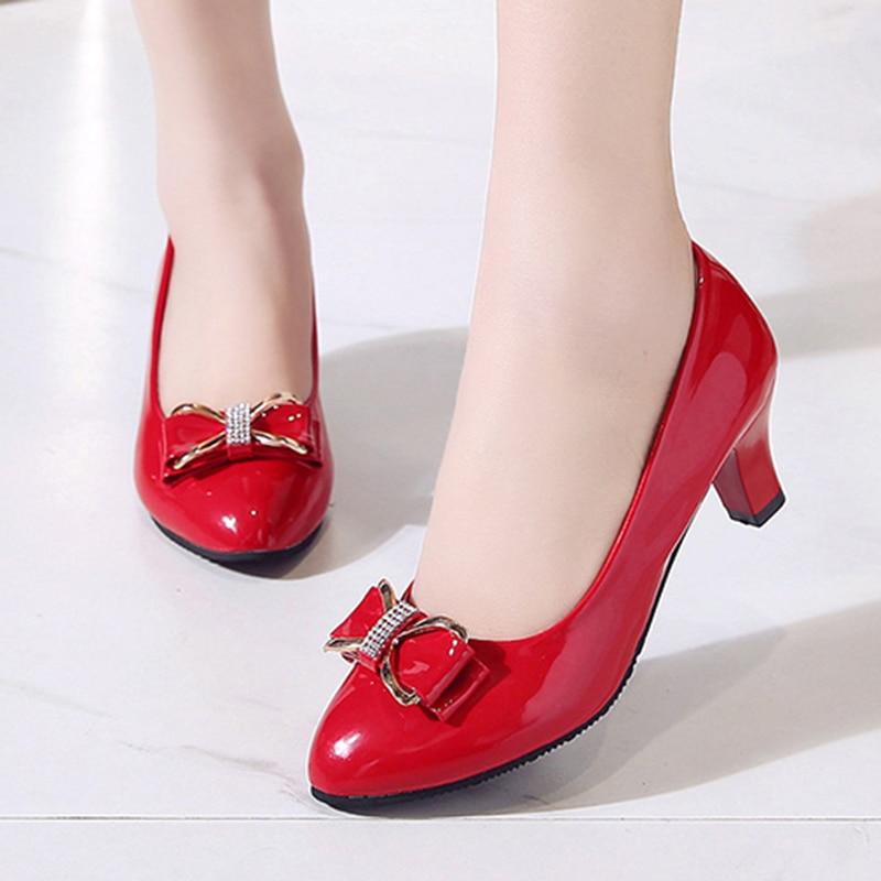 Tamanho grande 35 42 sapatos femininos bombas de couro de patente med salto alto escritório senhoras sapatos arco sapatos de casamento zapatos mujer 8394c