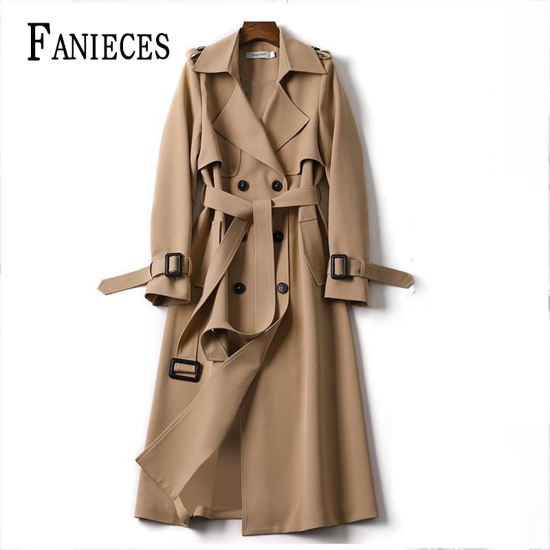 Windbreaker Spring Autumn Korean Casual Thin Trench Coat For Women Elegant Long Trench Sashes пла